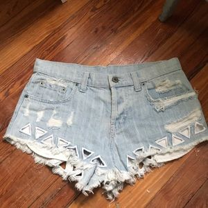 Carmar Jean Shorts with cut out detail
